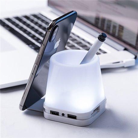 Portapenne con Porta USB 2.0 e Supporto per Cellulare 145964 Bianco