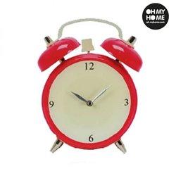 Alarm Clock Glass Wall Clock Red