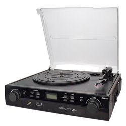 Giradischi + Registratore di Cassette BRIGMTON BTC-406REC USB SD/MMC Nero