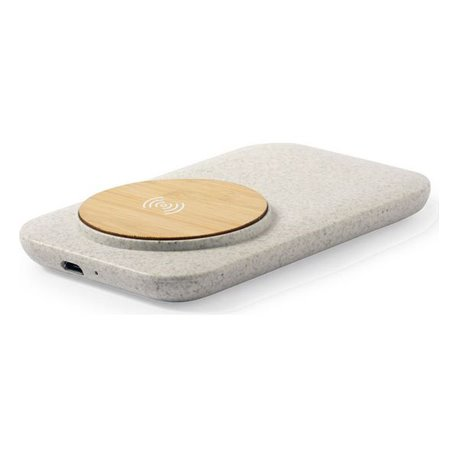Caricabatterie Wireless Qi con Porte USB 146536 Bambù Paglia di grano Abs Naturale