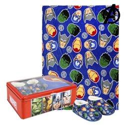 Scatola in Metallo con Coperta e Pantofole The Avengers 73666 (3 pcs) Azzurro 3-4 Anni
