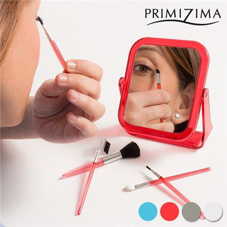 Primizima Mirror with Makeup Brushes (6 piece set) Transparent