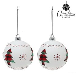 Palle di Natale Christmas Planet 1860 8 cm (2 uds) Geam Bianco