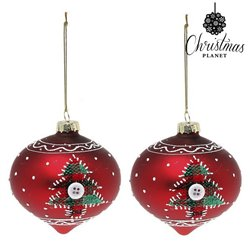 Boules de Noël Christmas Planet 1792 8 cm (2 uds) Verre Rouge