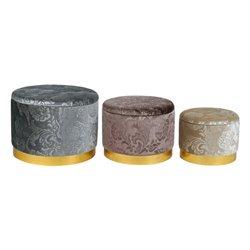 Poggiapiedi Dekodonia Poliestere Metallo Chic (3 pcs)