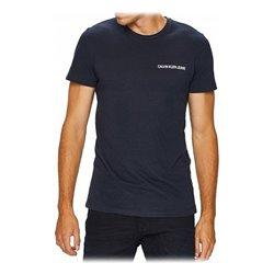 Maglia a Maniche Corte Uomo Calvin Klein E LIIN SLIM T Blu Marino L