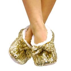 Pantofole Ballerine Morbide con Paillettes Rosso L