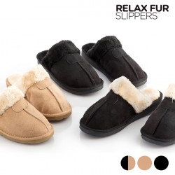 """Relax Fur Slippers 36 """"Black and Brown"""""""