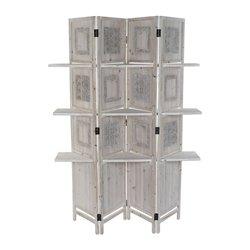 Paravent DKD Home Decor Blanc Bois (120 x 31 x 180 cm)