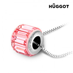 Hûggot Pink Wheel Rhodium-Plated Pendant Created with Swarovski®Crystals (45 cm)
