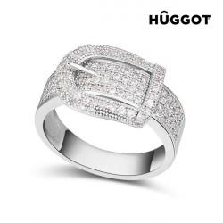"Hûggot Belt Rhodium-Plated Ring with Zircons ""17,5 mm"""