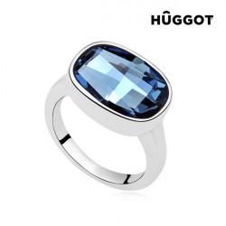 "Anillo Bañado en Rodio I´m Blue Hûggot Creado con Cristales Swarovski® ""17,5 mm"""