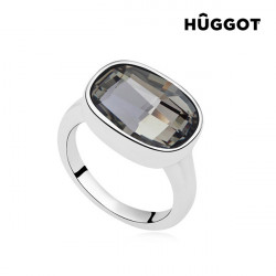"Hûggot Night Rhodium-Plated Ring Created with Swarovski®Crystals ""16,8 mm"""