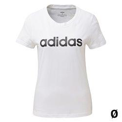 Maglia a Maniche Corte Donna Adidas W E LIIN SLIM T DU0629 Bianco L