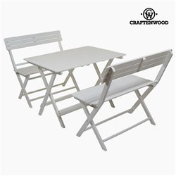 Table set with 2 chairs Aspen wood (100 x 70 x 70 cm) by Craftenwood