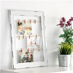Cadre en Bois pour Photos et Notes Cordes et Pinces (38 x 48 cm)