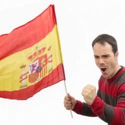 Spanische Flagge mit Mast 60 x 90 cm