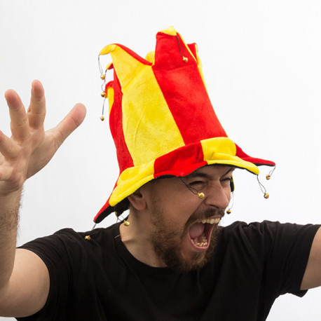 Gorro de Bufón con 14 Cascabeles Bandera de España Th3 Party