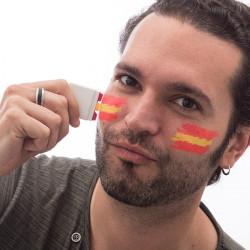 Pintura Facial com a Bandeira Espanhola