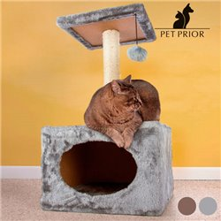 Cat Scratching Post with House Grey