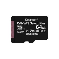 KINGSTON MICRO SDHC 64GB CANVAS SELECT 80R CL10 UHS-I CON ADATTATORE SD