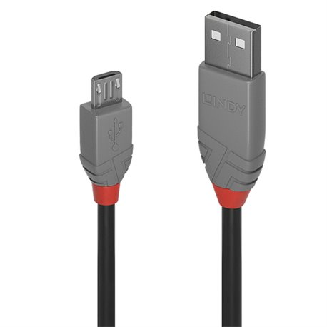 LINDY 3M USB 2.0 KABEL A / MICRO-B, ANTHRA