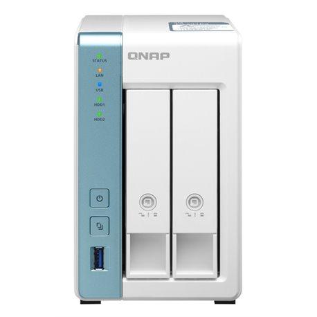 QNAP NAS TOWER 2BAY 1.7GHZ QUAD CORE, 4GB DDR3L, 1X 2.5GBE, 1X GBE, 3X USB3.2