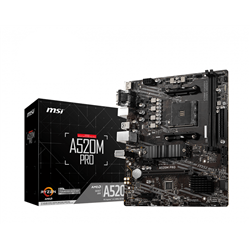 MSI MB AMD A520M PRO AM4 2DDR4, 1PCI-Ex16, 1M2, 4SATA3, 6USB3