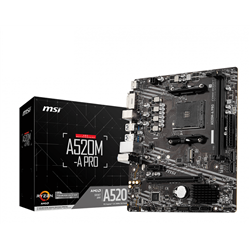MSI MB AMD A520M-A PRO AM4 2DDR4 11PCI-Ex16, 1M2, 4SATA3, 6USB3