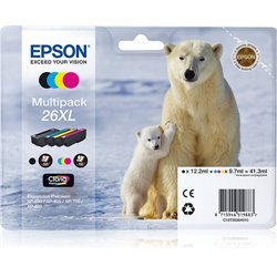 EPSON CART INK MULTIPACK PER XP-600/605/700/800 SERIE 26XL/ORSO POLARE (T262140 + T263240 + T263340 + T263440)