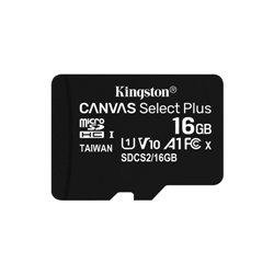 KINGSTON MICRO SDHC 16GB CANVAS SELECT 80R CL10 UHS-I CON ADATTATORE SD