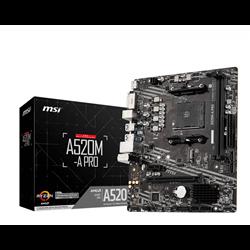 MSI MB AMD A520M-A PRO AM4 2DDR4 11PCI-Ex16, 1M2, 4SATA3, 6USB3