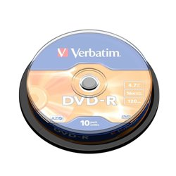 VERBATIM DVD-R 16X, 4,7GB, 10 PACK SPINDLE, MATT SILVER
