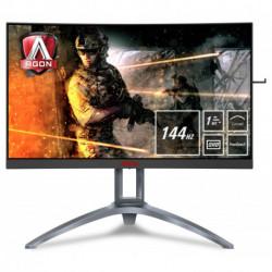AOC Gaming AG273QCX monitor de ecrã plano 68,6 cm (27) 2560 x 1440 pixels Wide Quad HD LED Curvado Preto, Vermelho, Prateado