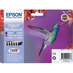 Epson Hummingbird Multipack Colibri (T0807)Encres Claria N, C, M, J, Cc, Mc C13T08074011