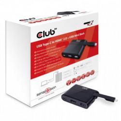 CLUB3D USB Tipo-C to HDMI™ 2.0 + USB 2.0 + USB Tipo-C Cargar Mini Dock CSV-1534