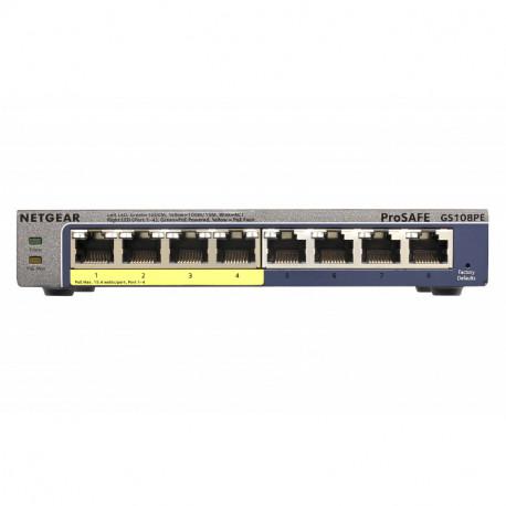 Netgear GS108PE Géré Gigabit Ethernet (10/100/1000) Noir Connexion Ethernet, supportant l'alimentation via ce GS108PE-300EUS