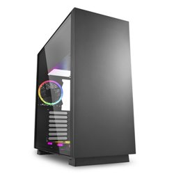 SHARKOON CASE ATX PURE STEEL,7 SLOT, 2XUSB3, 1X120MM RGB REAR, 1X120MM RGB DOWN, WINDOW, BLACK PURE STEEL RGB