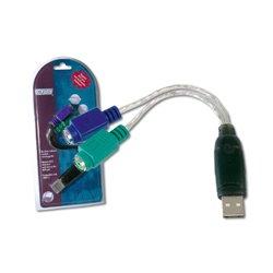 Digitus USB zu PS/2 Adapter, 2 X Mini-Din 6/F, USB A/M 101750