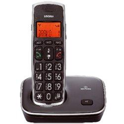 BRONDI TELEFONO CORDLESS BRAVO GOLD 2 GRANDI TASTI CON VIVAVOCE RUBRICA 20 MEMORIE TASTO BOOST VIVAVOCE BLACK 10273160